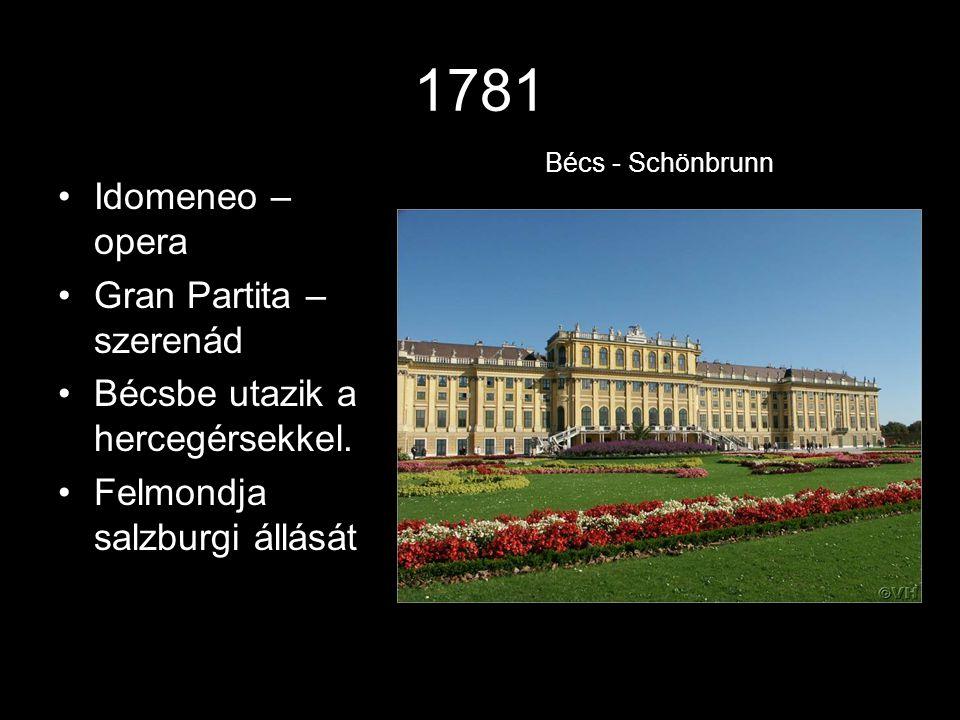 1781 Idomeneo – opera Gran Partita – szerenád