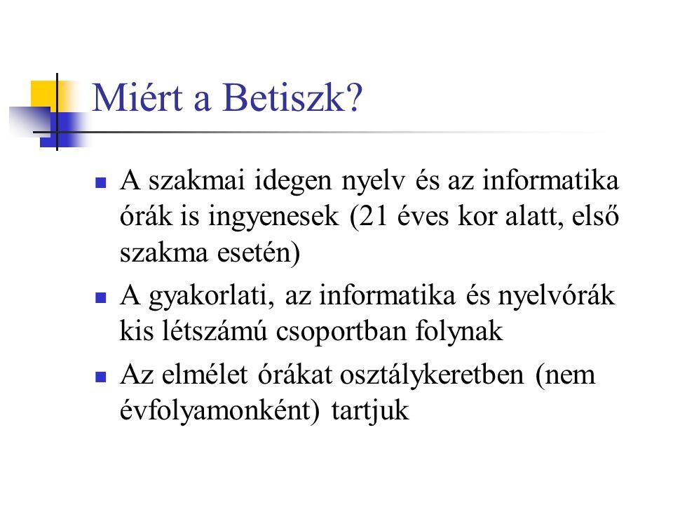 Miért a Betiszk A szakmai idegen nyelv és az informatika órák is ingyenesek (21 éves kor alatt, első szakma esetén)