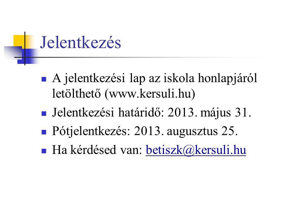Jelentkezés A jelentkezési lap az iskola honlapjáról letölthető (www.kersuli.hu) Jelentkezési határidő: 2013. május 31.