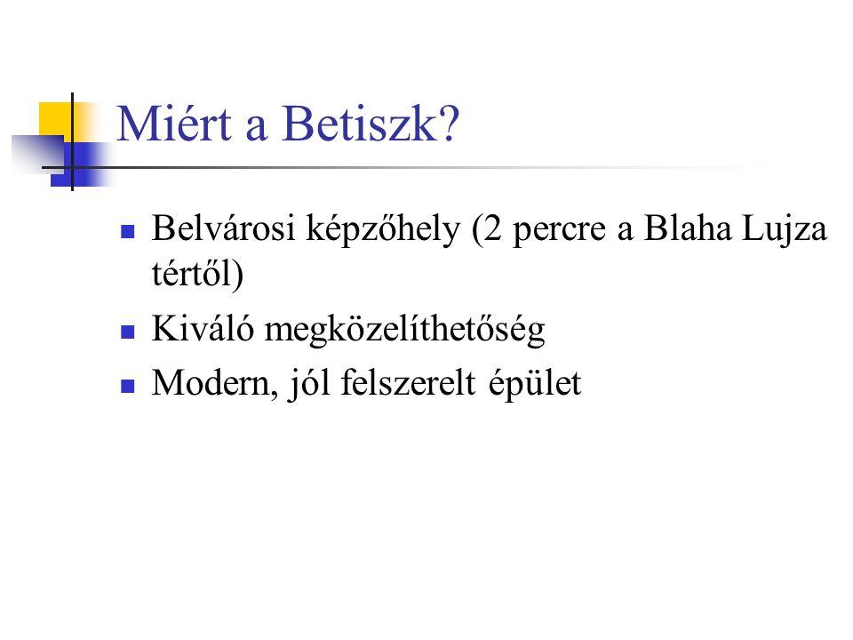 Miért a Betiszk Belvárosi képzőhely (2 percre a Blaha Lujza tértől)