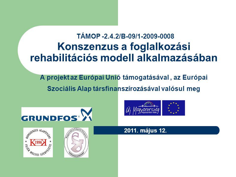 TÁMOP -2.4.2/B-09/1-2009-0008 Konszenzus a foglalkozási rehabilitációs modell alkalmazásában A projekt az Európai Unió támogatásával , az Európai Szociális Alap társfinanszírozásával valósul meg