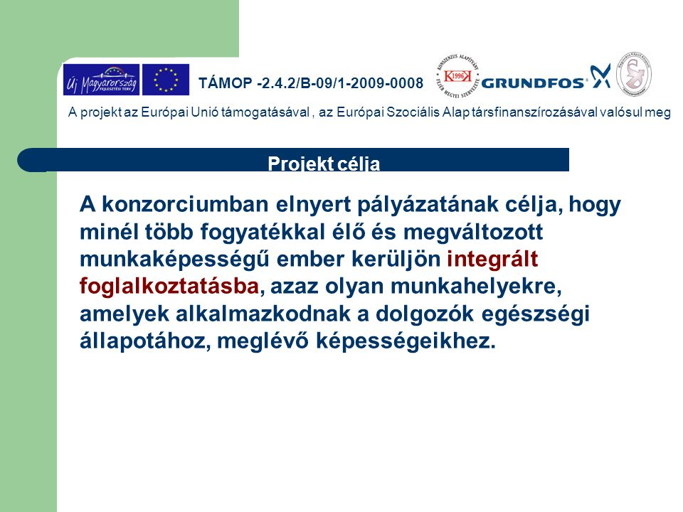 TÁMOP -2.4.2/B-09/1-2009-0008 A projekt az Európai Unió támogatásával , az Európai Szociális Alap társfinanszírozásával valósul meg.