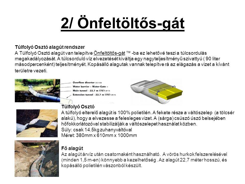 2/ Önfeltöltős-gát Túlfolyó Osztó alagút rendszer