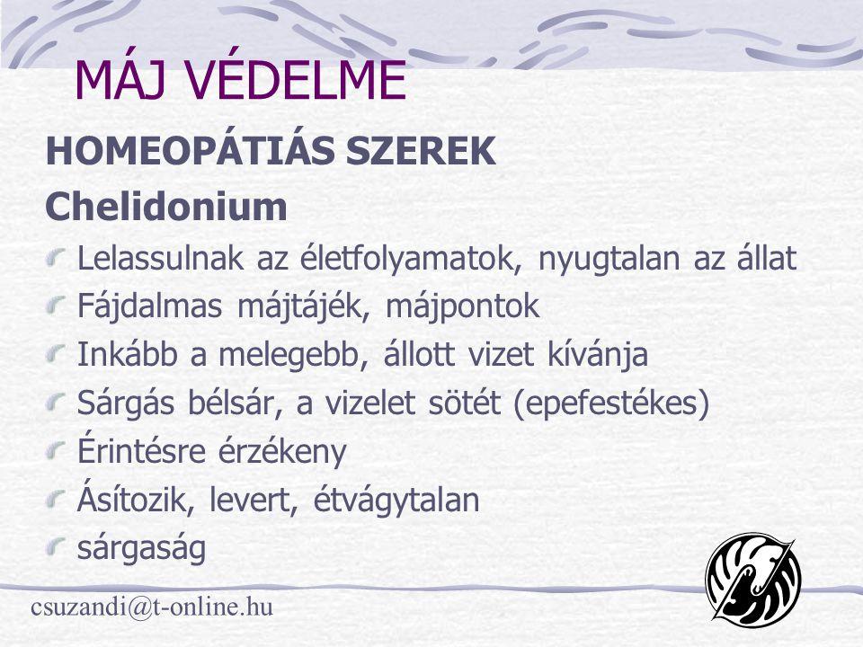 MÁJ VÉDELME HOMEOPÁTIÁS SZEREK Chelidonium