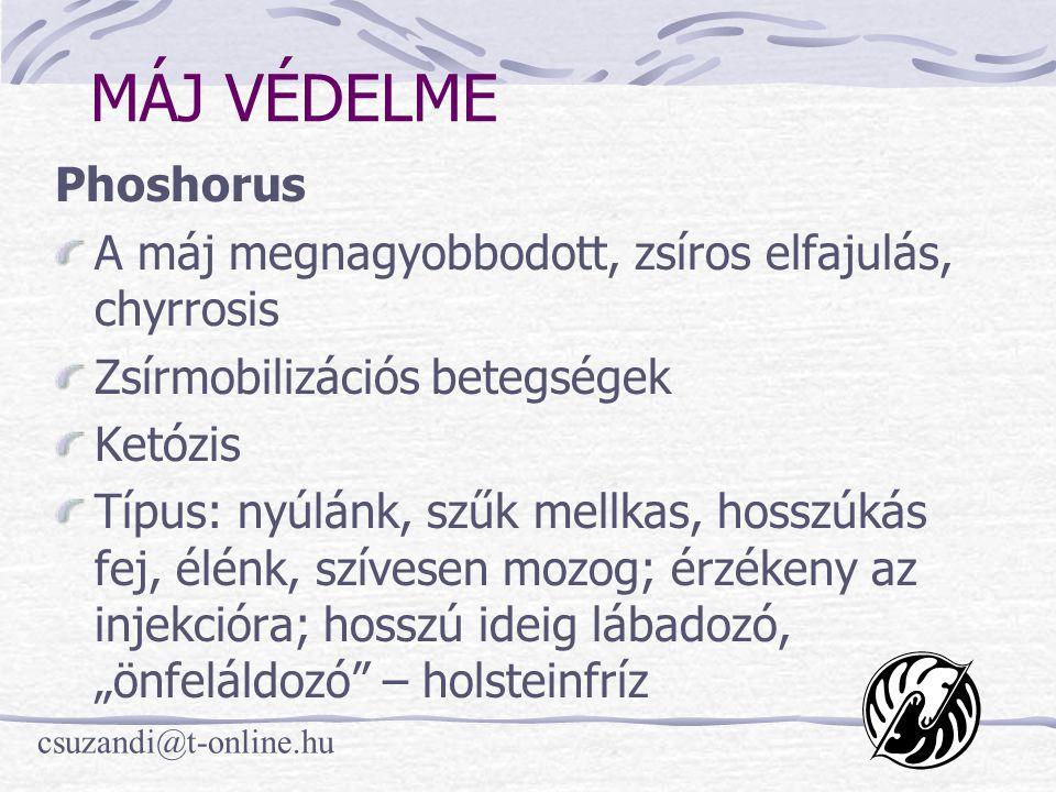MÁJ VÉDELME Phoshorus. A máj megnagyobbodott, zsíros elfajulás, chyrrosis. Zsírmobilizációs betegségek.