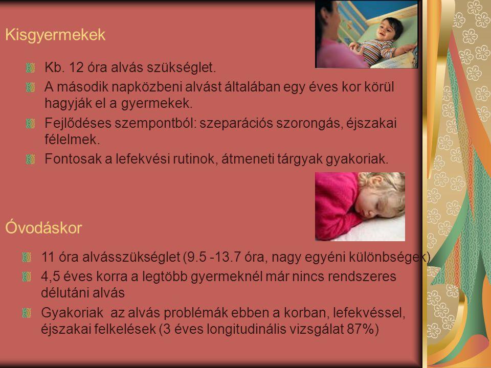 Kisgyermekek Óvodáskor Kb. 12 óra alvás szükséglet.