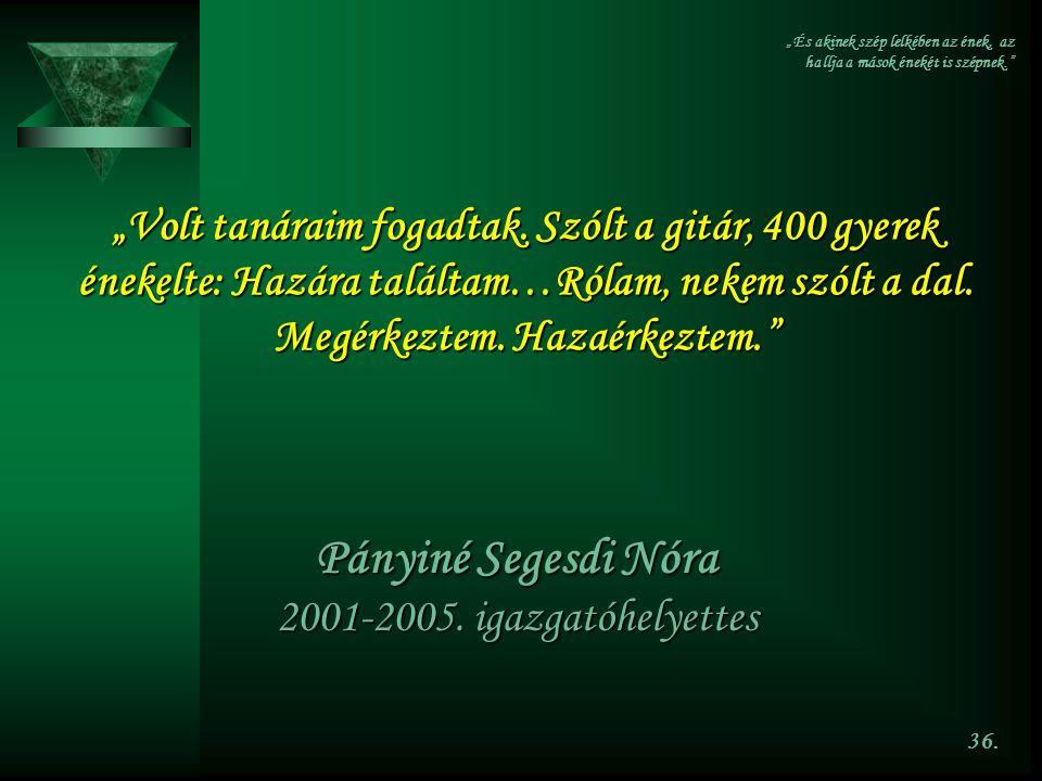 Pányiné Segesdi Nóra 2001-2005. igazgatóhelyettes