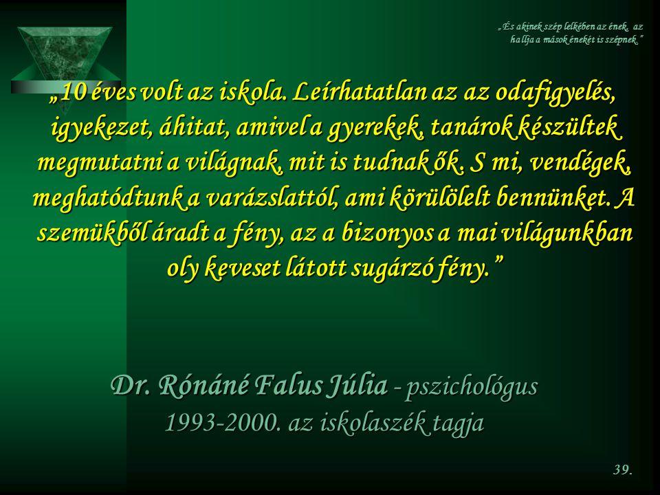 Dr. Rónáné Falus Júlia - pszichológus 1993-2000. az iskolaszék tagja