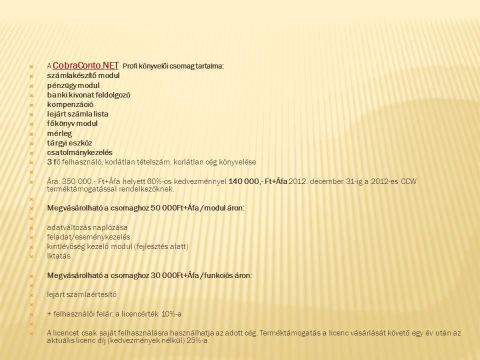 A CobraConto.NET Profi könyvelői csomag tartalma:
