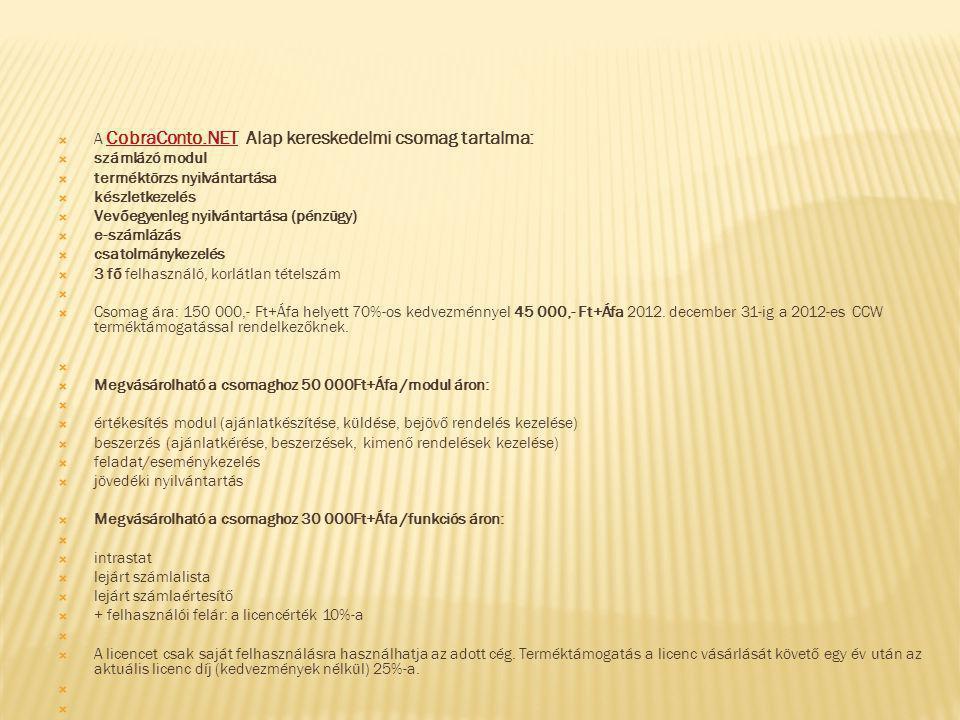 A CobraConto.NET Alap kereskedelmi csomag tartalma: