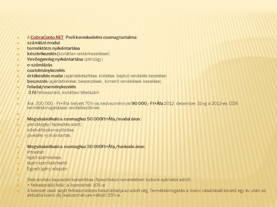 A CobraConto.NET Profi kereskedelmi csomag tartalma: