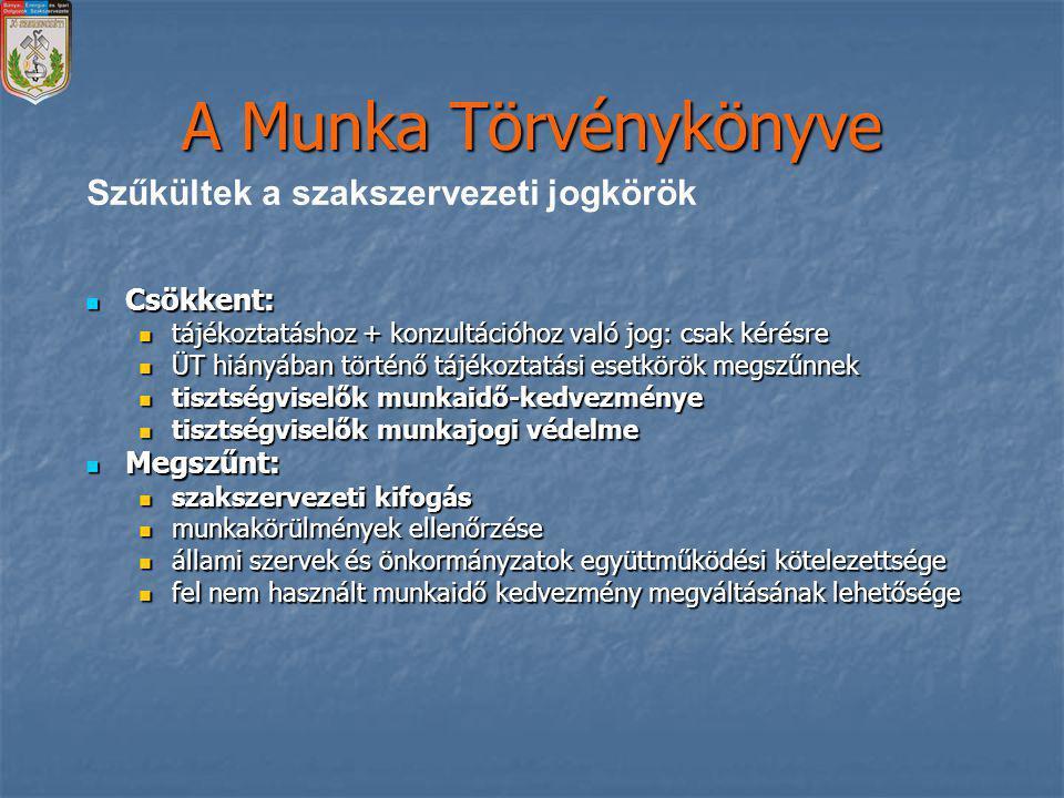A Munka Törvénykönyve Szűkültek a szakszervezeti jogkörök Csökkent:
