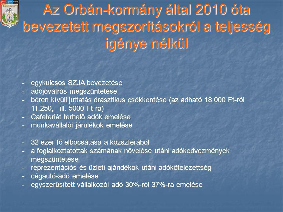 Az Orbán-kormány által 2010 óta bevezetett megszorításokról a teljesség igénye nélkül