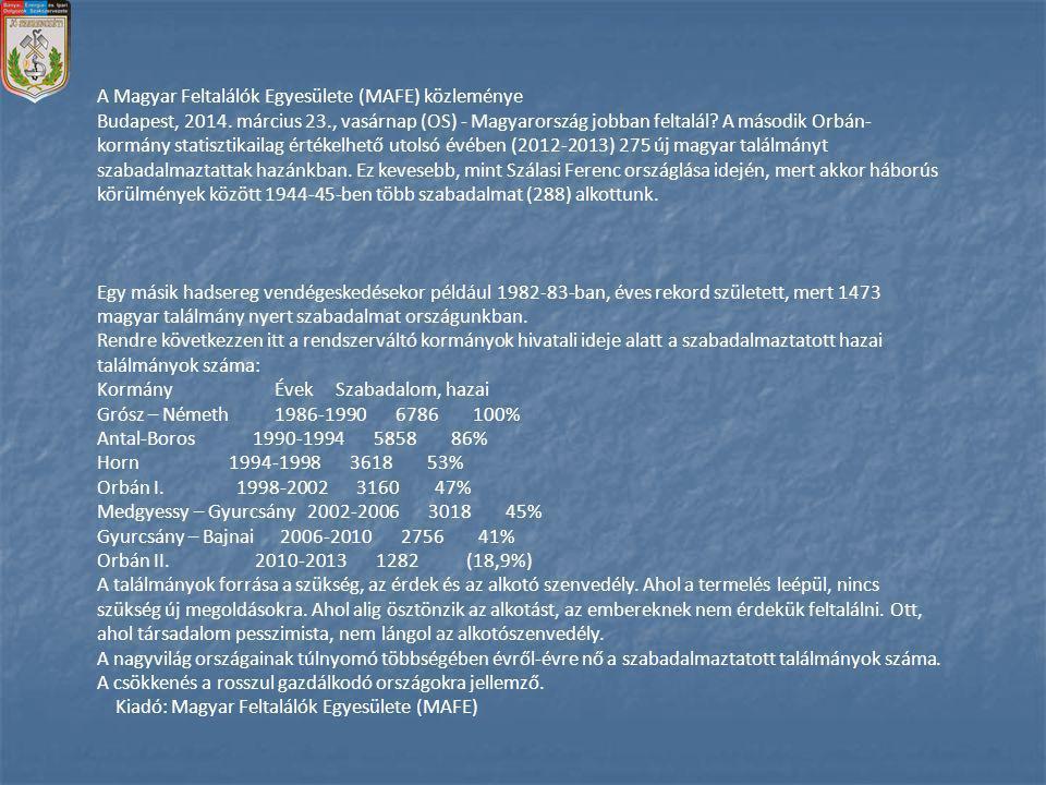 A Magyar Feltalálók Egyesülete (MAFE) közleménye