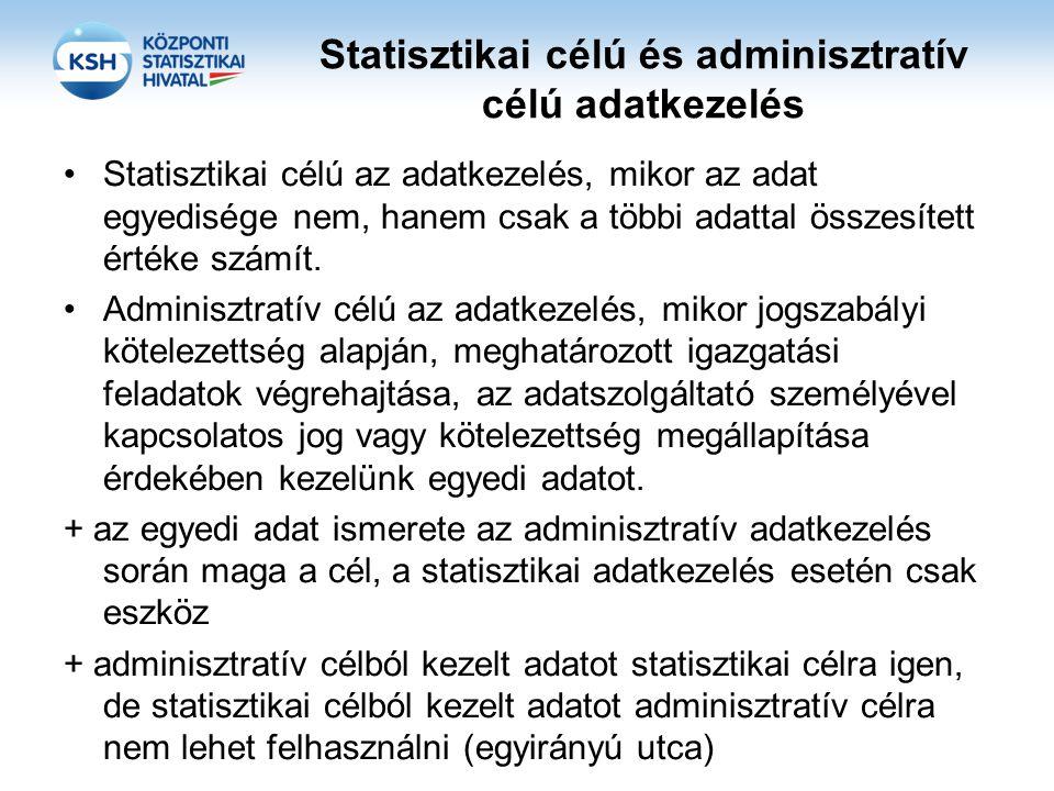 Statisztikai célú és adminisztratív célú adatkezelés