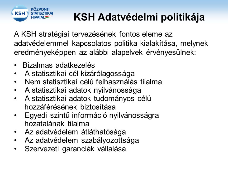 KSH Adatvédelmi politikája