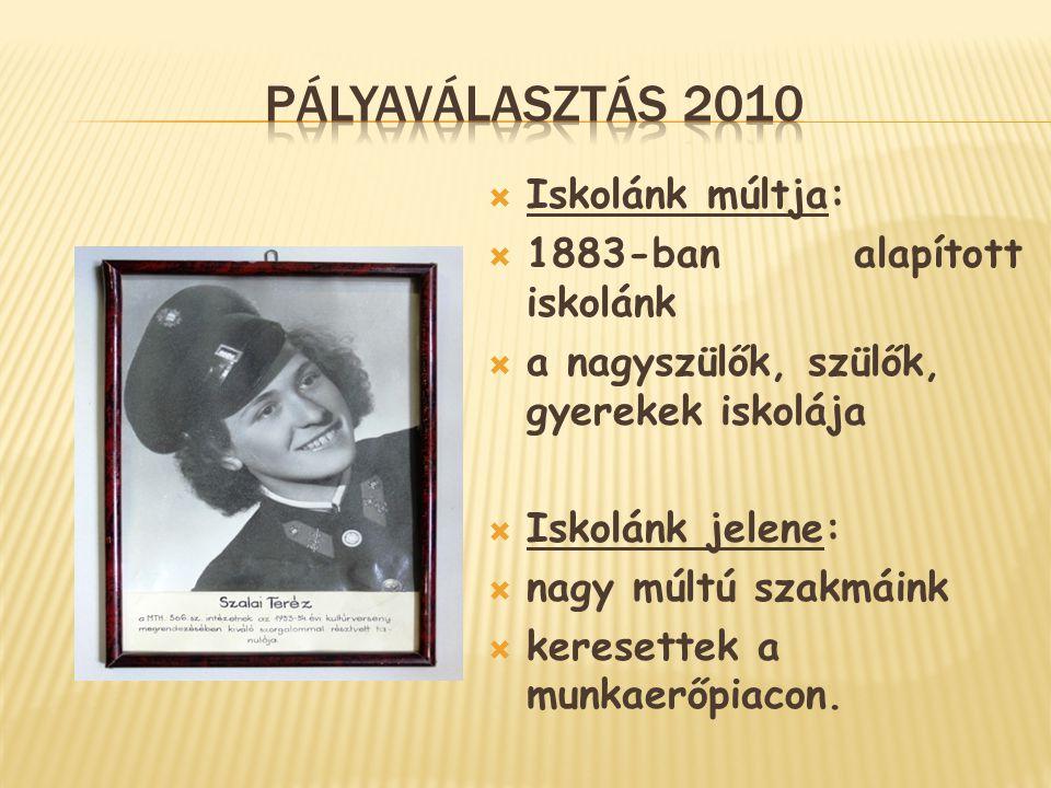 Pályaválasztás 2010 Iskolánk múltja: 1883-ban alapított iskolánk