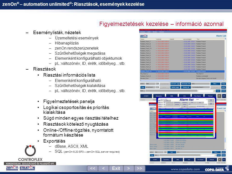 zenOn® – automation unlimited©: Riasztások, események kezelése