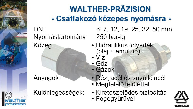 WALTHER-PRÄZISION - Csatlakozó közepes nyomásra -