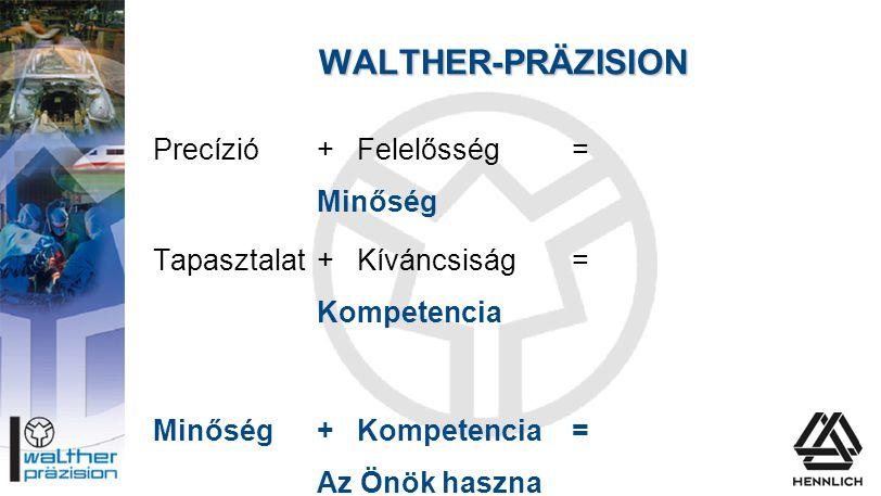 WALTHER-PRÄZISION Precízió + Felelősség = Minőség