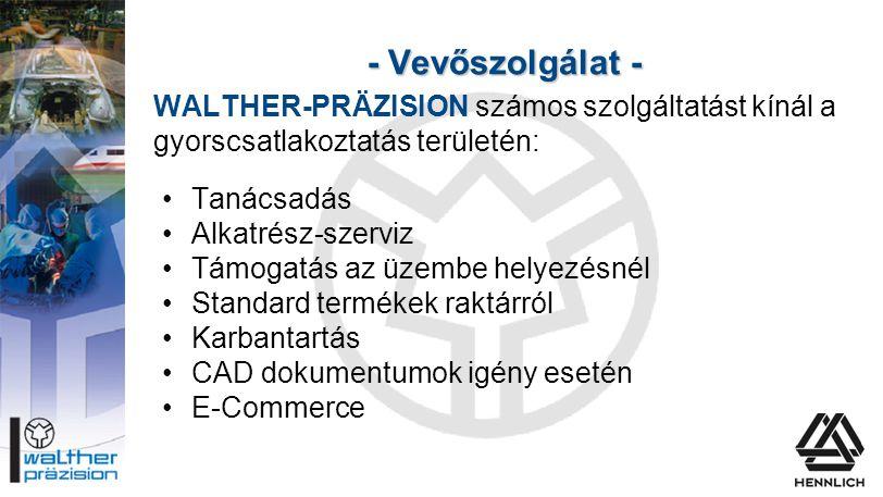- Vevőszolgálat - WALTHER-PRÄZISION számos szolgáltatást kínál a gyorscsatlakoztatás területén: Tanácsadás.