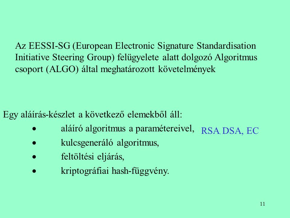 Az EESSI-SG (European Electronic Signature Standardisation Initiative Steering Group) felügyelete alatt dolgozó Algoritmus csoport (ALGO) által meghatározott követelmények