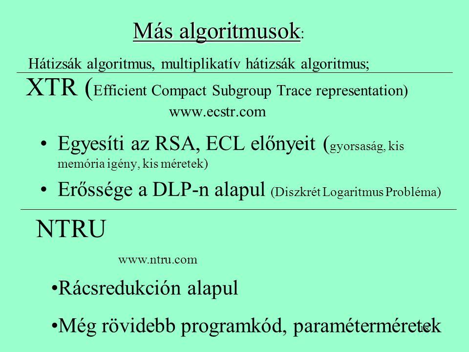XTR (Efficient Compact Subgroup Trace representation) www.ecstr.com