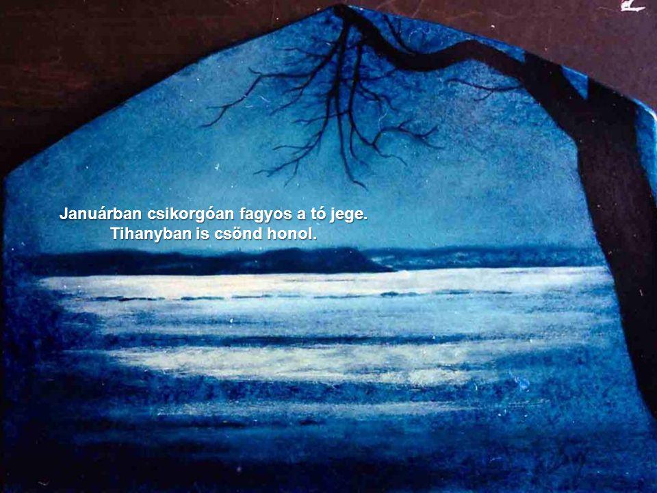 Januárban csikorgóan fagyos a tó jege. Tihanyban is csönd honol.