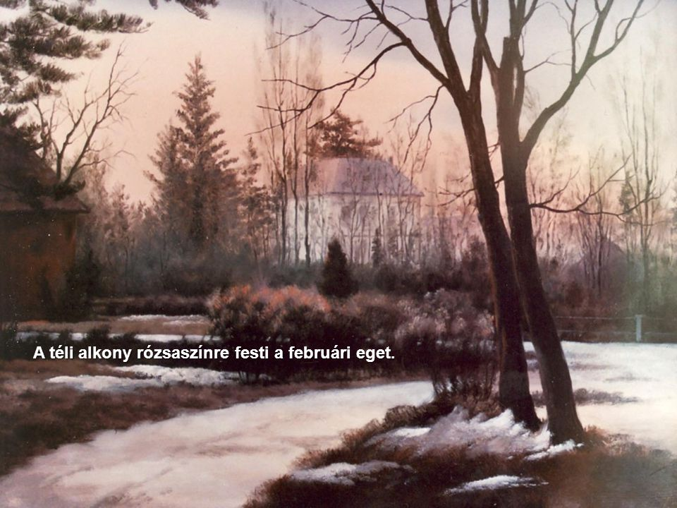 A téli alkony rózsaszínre festi a februári eget.