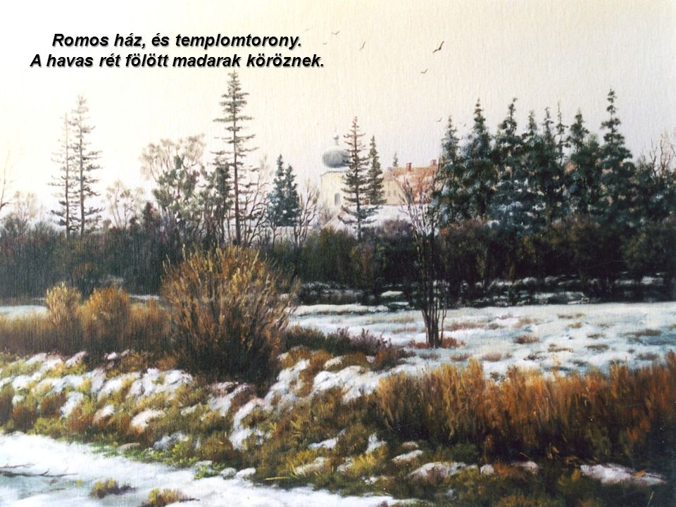 Romos ház, és templomtorony. A havas rét fölött madarak köröznek.