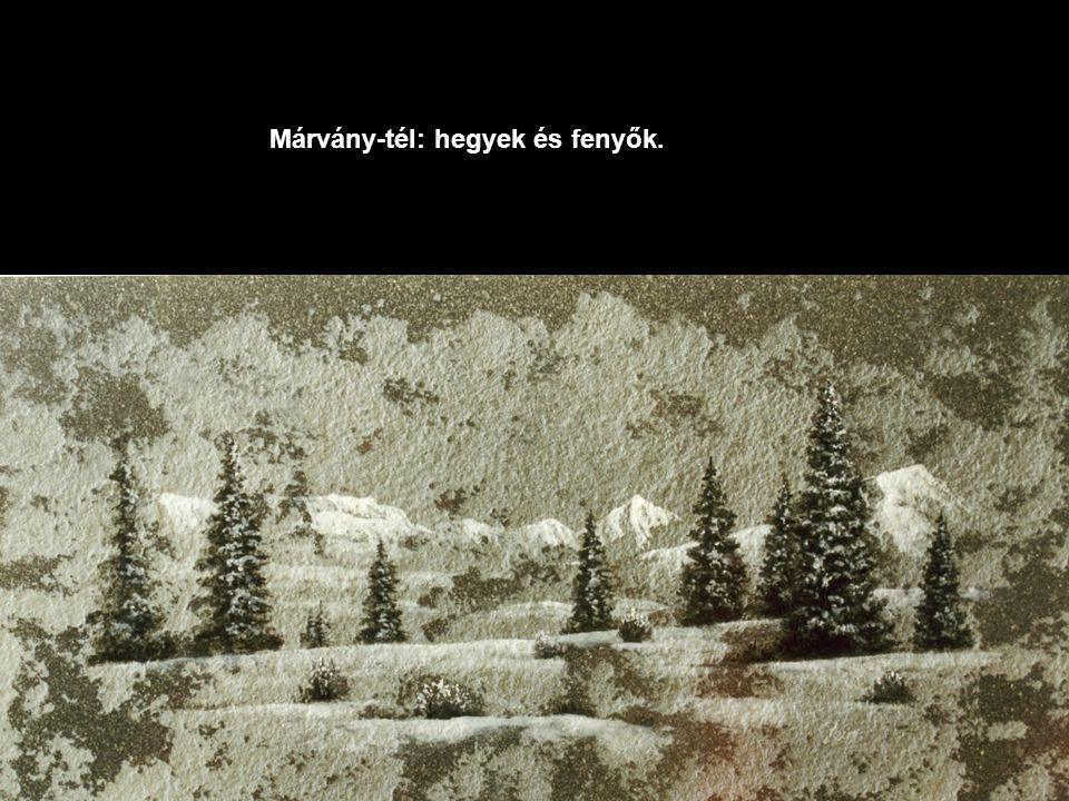 Márvány-tél: hegyek és fenyők.
