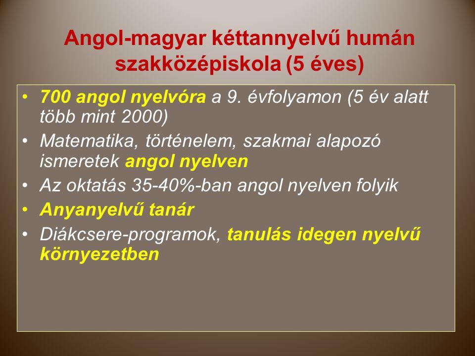 Angol-magyar kéttannyelvű humán szakközépiskola (5 éves)