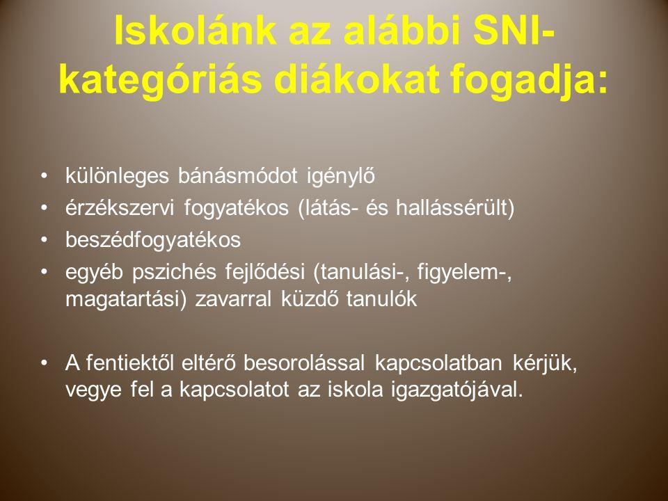 Iskolánk az alábbi SNI-kategóriás diákokat fogadja: