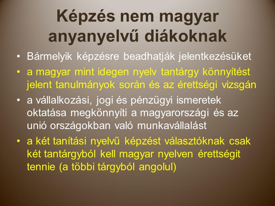 Képzés nem magyar anyanyelvű diákoknak