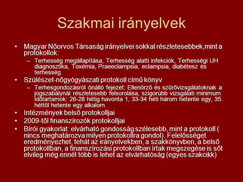 Szakmai irányelvek Magyar Nőorvos Társaság irányelvei sokkal részletesebbek,mint a protokollok:
