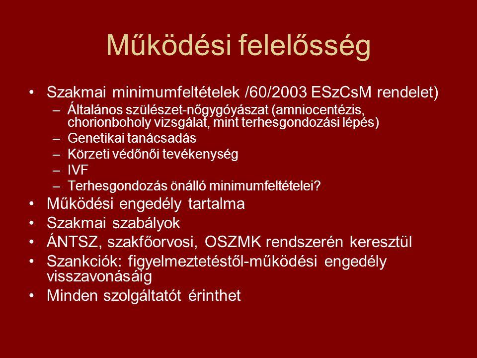 Működési felelősség Szakmai minimumfeltételek /60/2003 ESzCsM rendelet)