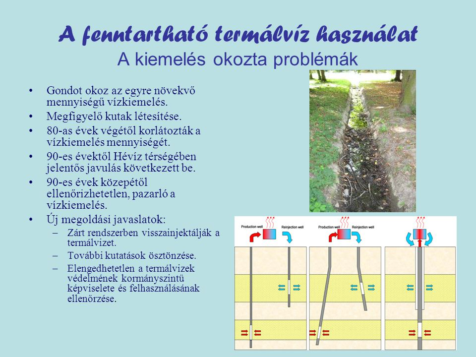 A fenntartható termálvíz használat A kiemelés okozta problémák