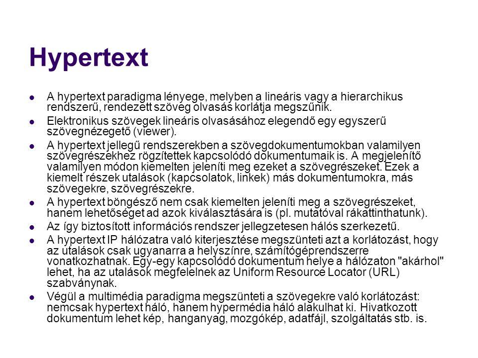 Hypertext A hypertext paradigma lényege, melyben a lineáris vagy a hierarchikus rendszerű, rendezett szöveg olvasás korlátja megszűnik.