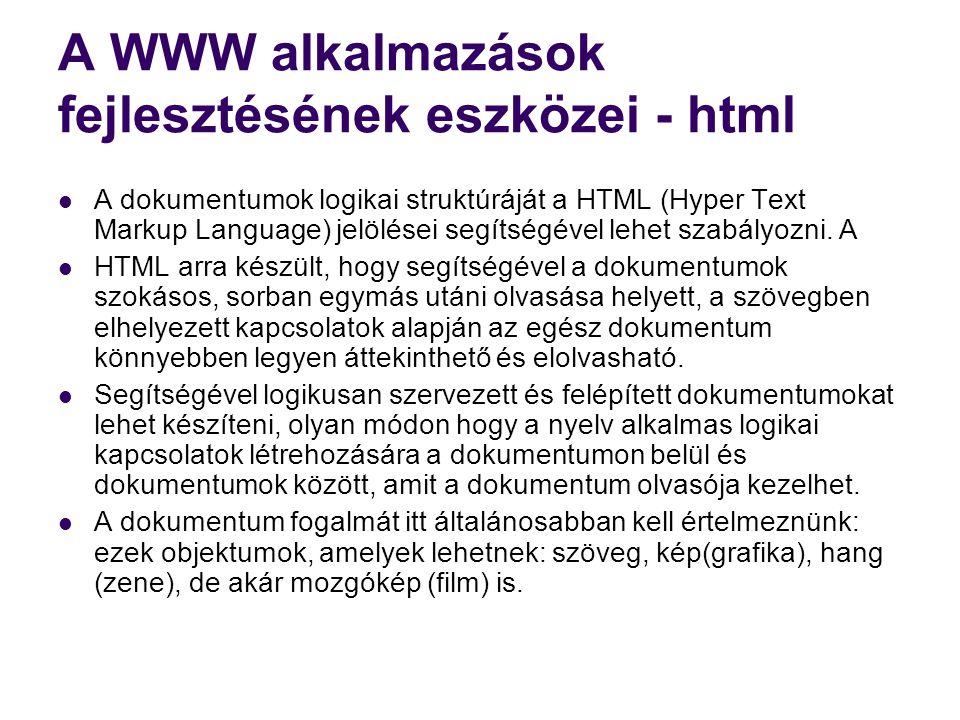 A WWW alkalmazások fejlesztésének eszközei - html
