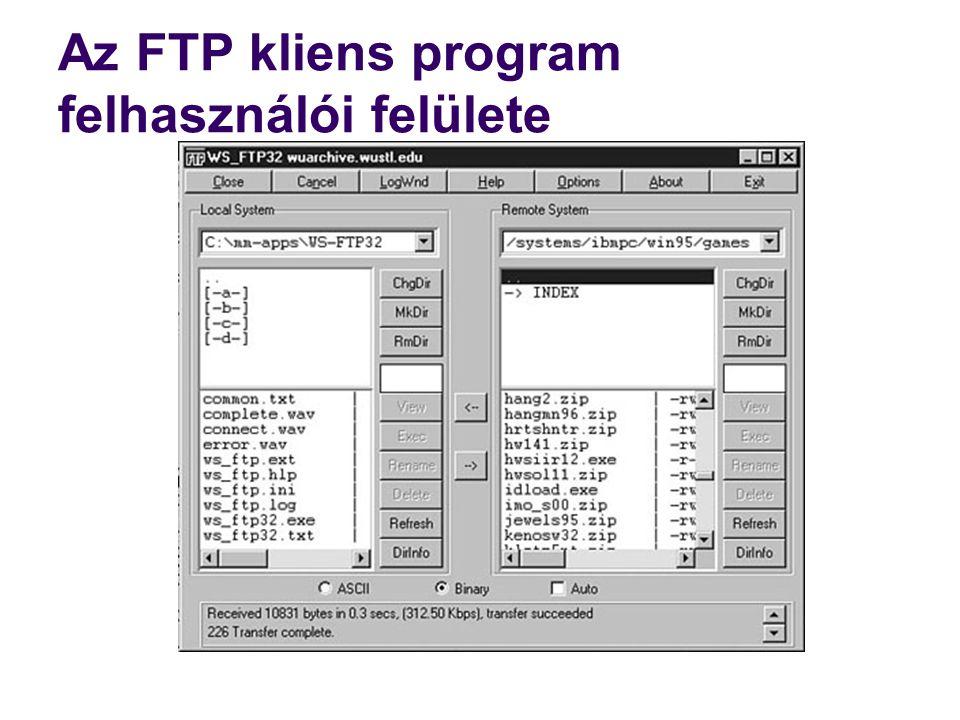 Az FTP kliens program felhasználói felülete