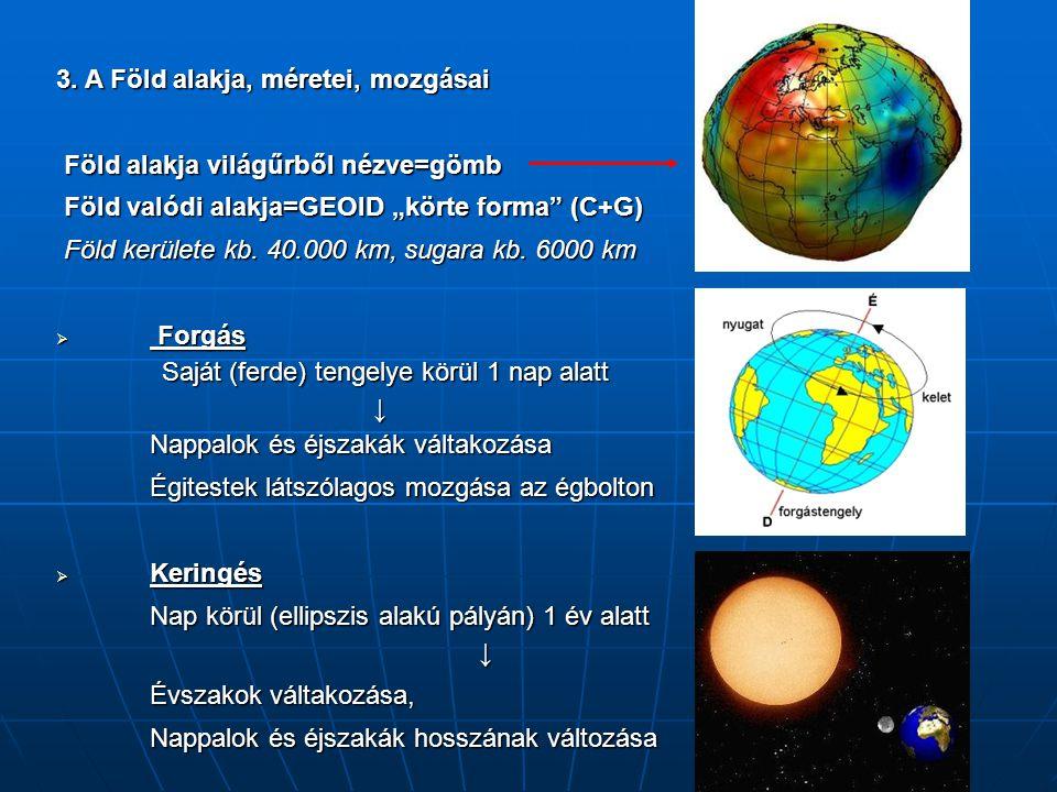 3. A Föld alakja, méretei, mozgásai