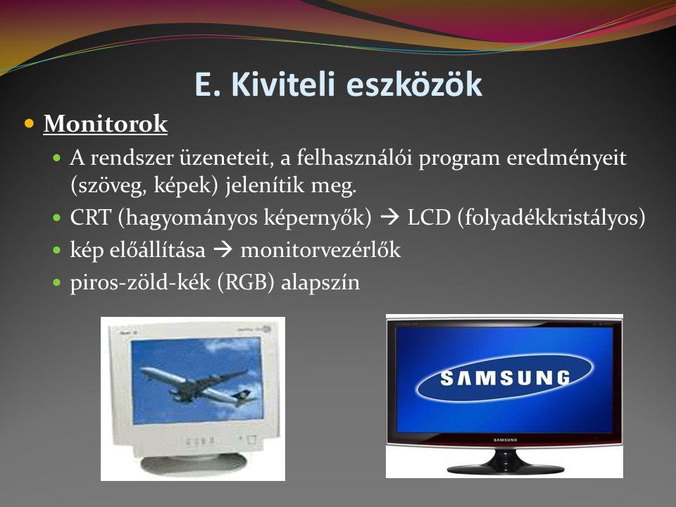 E. Kiviteli eszközök Monitorok