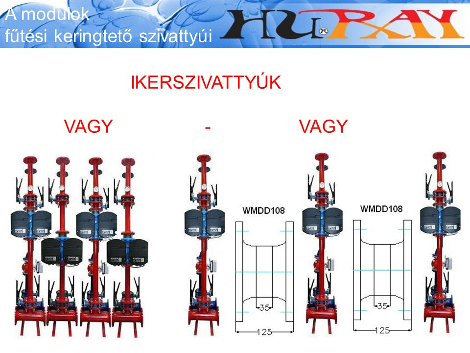 A modulok fűtési keringtető szivattyúi IKERSZIVATTYÚK VAGY - VAGY