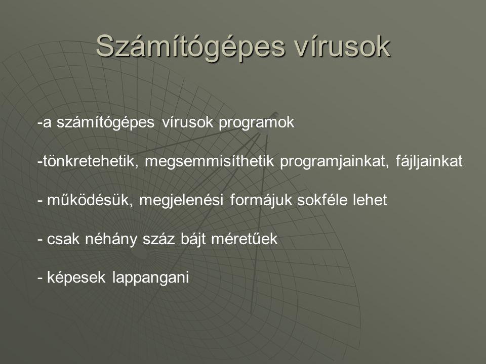 Számítógépes vírusok a számítógépes vírusok programok