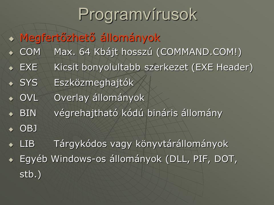 Programvírusok Megfertőzhető állományok