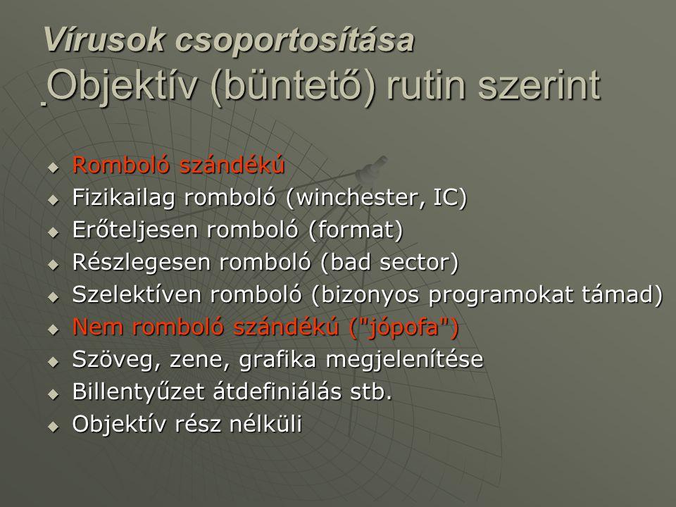 Vírusok csoportosítása Objektív (büntető) rutin szerint