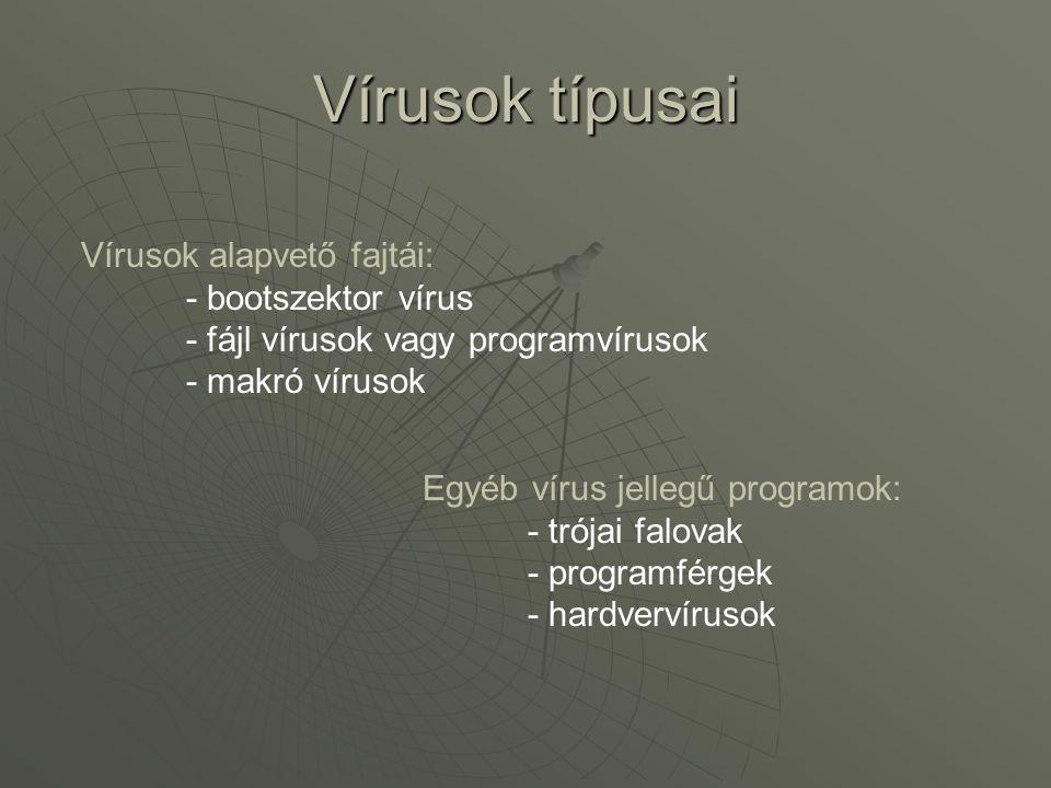 Vírusok típusai Vírusok alapvető fajtái: - bootszektor vírus - fájl vírusok vagy programvírusok.