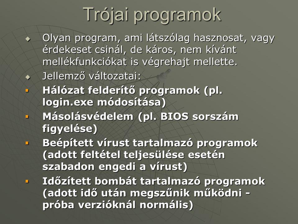 Trójai programok Olyan program, ami látszólag hasznosat, vagy érdekeset csinál, de káros, nem kívánt mellékfunkciókat is végrehajt mellette.