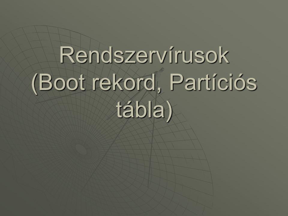 Rendszervírusok (Boot rekord, Partíciós tábla)