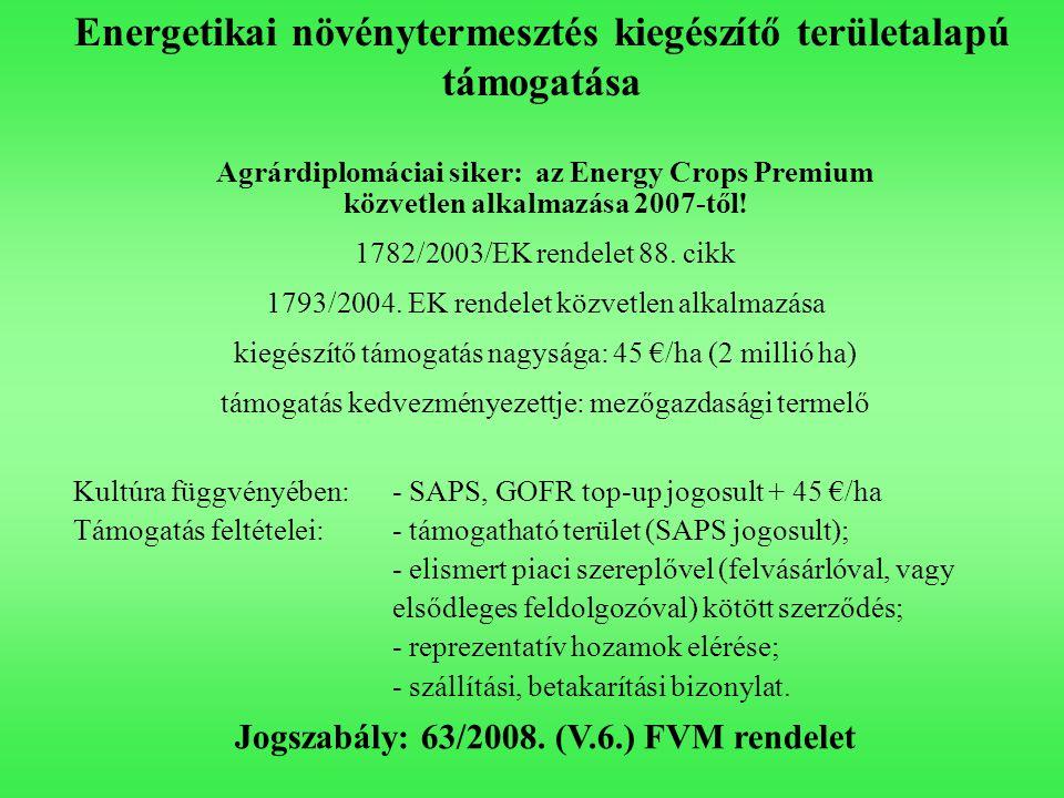 Energetikai növénytermesztés kiegészítő területalapú támogatása